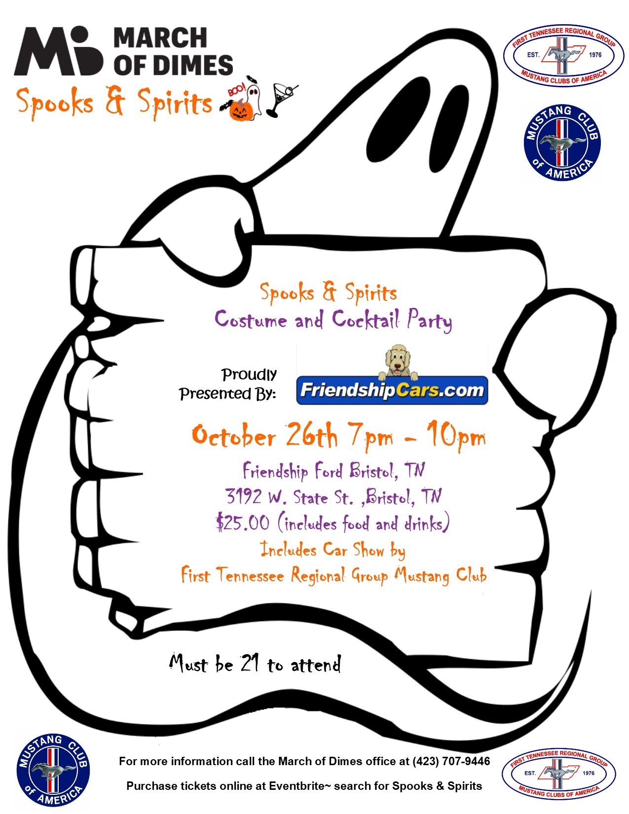 March of Dims Spooks and Spirits adult trunk or treat at Friendship Ford