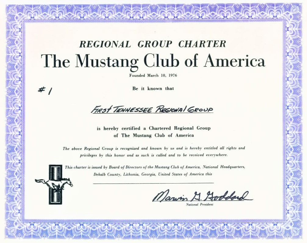 The First Tennessee Regional Group Mustang Club - Mustang Club of America Charter